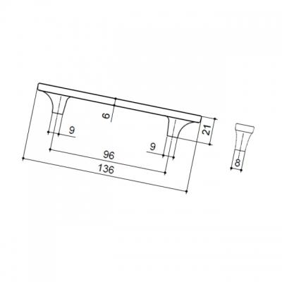 Ручка-скоба 96мм, отделка никель глянец + ваниль 15200Z0960N.C32