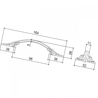Ручка-скоба 96мм, отделка серебро старое 15258Z09600.25