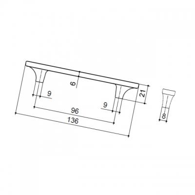 Ручка-скоба 96мм, никель глянец + перламутр 15299Z09600.32
