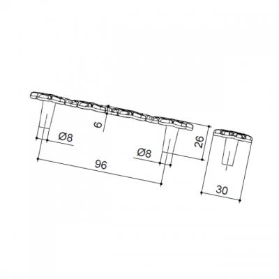 Ручка-скоба 96мм, отделка серебро старое (2 винта М4х22 + 2 винта М4х25) 15308Z0960B.25T