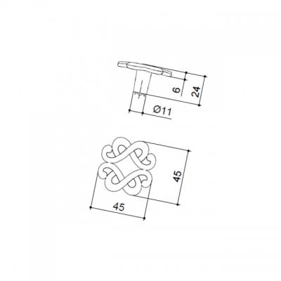 Ручка-кнопка, отделка серебро старое 24108Z0450B.25