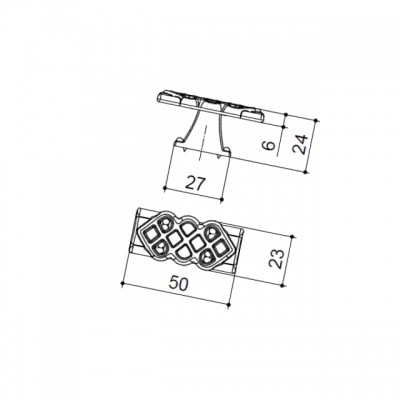 Ручка-кнопка, отделка серебро старое (1 винта М4х22 + 1 винт М4х25) 24144Z05000.25T