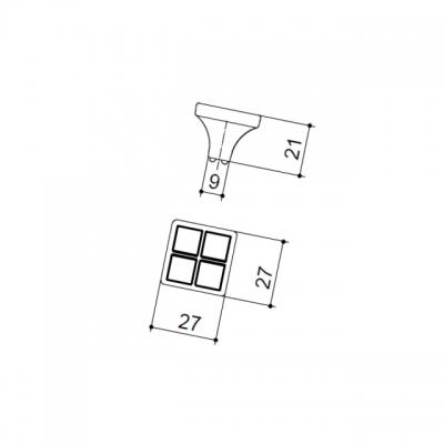 Ручка-кнопка, отделка никель глянец + ваниль 24200Z0270N.C32
