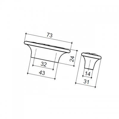 Ручка-скоба 32мм, отделка серебро старое 24250Z0730B.25