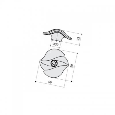 Ручка-кнопка, отделка воронёный глянец + горный хрусталь 24259Z06000.48