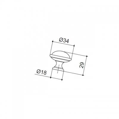 Ручка-кнопка, отделка серебро старое + керамика черная 24316P035ES.25