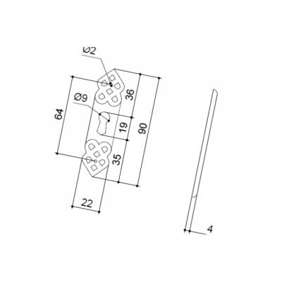 Накладка вертикальная под ключ, отделка серебро старое 30144Z090V0.25