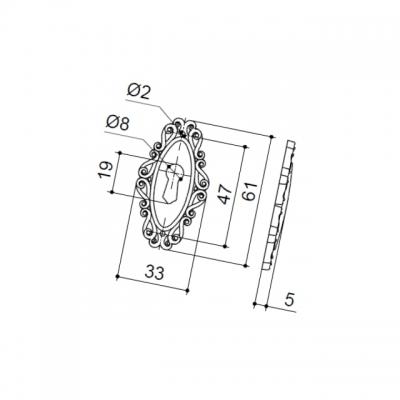 """Накладка под ключ, отделка бронза """"Флоренция"""" 30258Z060V0.09"""