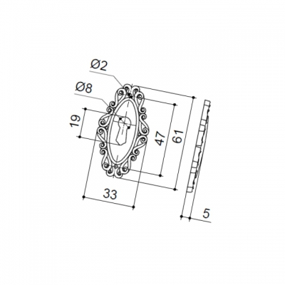 Накладка под ключ, отделка серебро старое 30258Z060V0.25