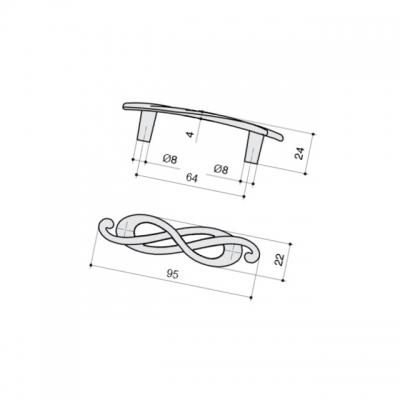 Ручка-скоба 64мм (левая), отделка серебро лунное EA036Z064S0.69
