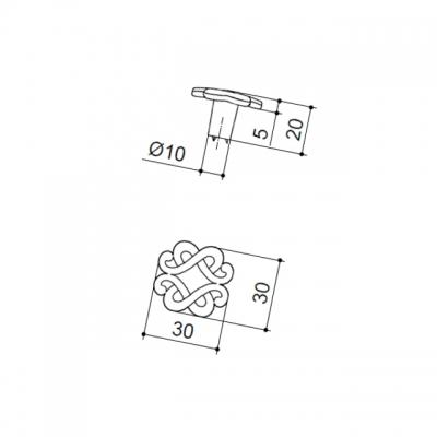 Ручка-кнопка, отделка серебро лунное IA108Z03000.69