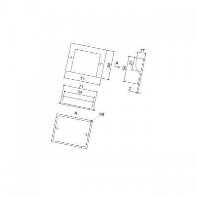 Ручка-скоба 64мм врезная, отделка алюминий M46/64/VA