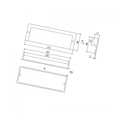Ручка-скоба 160мм врезная, отделка алюминий M46/160/VA