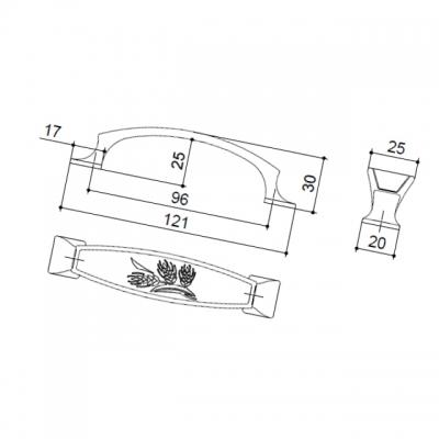 Ручка-скоба 96мм, отделка медь M150/96/OVAB