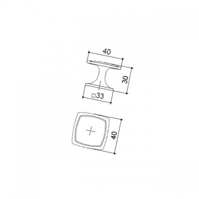 Ручка-кнопка, отделка бронза античная P16/OVM