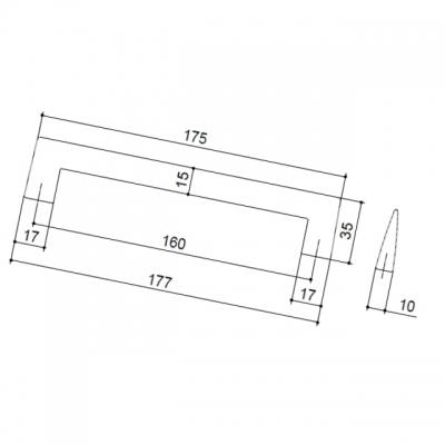 Ручка-скоба 160мм, отделка хром матовый 302A/A31
