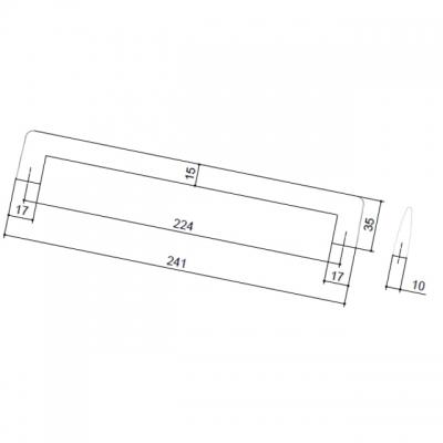 Ручка-скоба 224мм, отделка хром матовый 304/A31