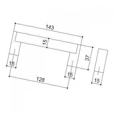 Ручка-скоба 128мм, отделка сталь нержавеющая 319/11.128