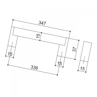 Ручка-скоба 336мм, отделка сталь нержавеющая 319/11.336