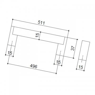 Ручка-скоба 496мм, отделка сталь нержавеющая 319/11.496