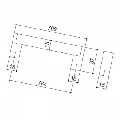 Ручка-скоба 784мм, отделка сталь нержавеющая 319/11.784