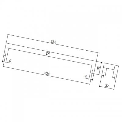 Ручка-скоба 224мм, отделка хром глянец 362B/10