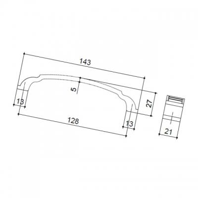 Ручка-скоба 128мм, отделка бронза античная 1019B/23