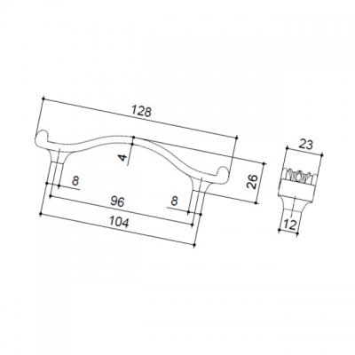 Ручка-скоба 96мм, отделка бронза античная 1020C/23