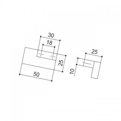 Ручка-кнопка левая, отделка хром глянец + сталь шлифованная F501/SX-CM5