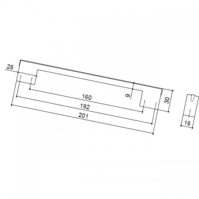 Ручка-скоба 160-192 мм, отделка золото глянец, под вставку CH0200-160192.GP