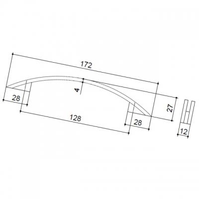 Ручка-скоба 128мм, отделка алюминий 12185.A25A
