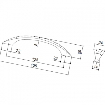 Ручка-скоба 128мм, отделка алюминий 12385.A17M