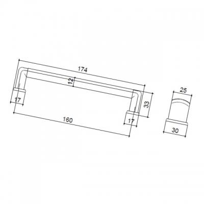 Ручка-скоба 160мм,  отделка хром + транспарент 12421.G.01G.23L