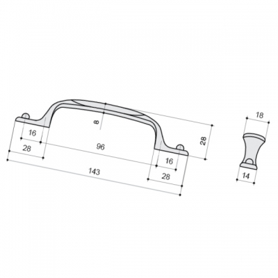 Ручка-скоба 96-128мм, отделка серебро старое + вставка 12506.S62P.605.14M