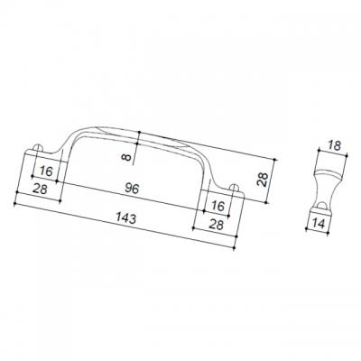 Ручка-скоба 96-128мм, отделка бронза + вставка 12506.S62P.605.08