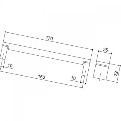 Ручка-скоба 160мм, отделка сталь 12518.G23L