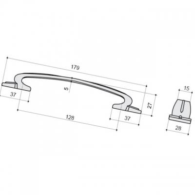 Ручка-скоба 128мм, отделка серебро блестящее 12914.A44S