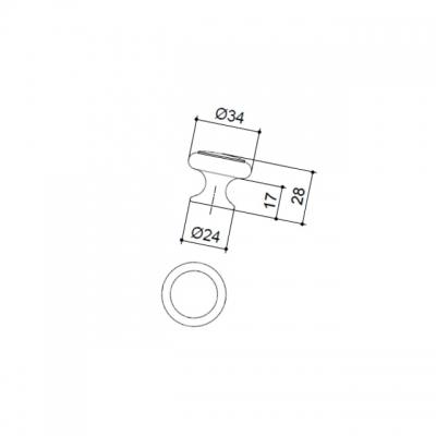 Ручка-кнопка, отделка серебро старое + вставка 24043.F62P.624.14M
