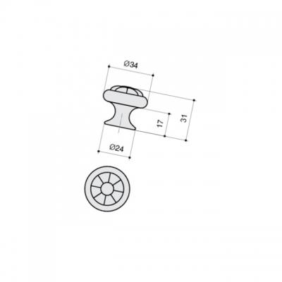 Ручка-кнопка, отделка серебро старое + вставка 24049.F82.14M