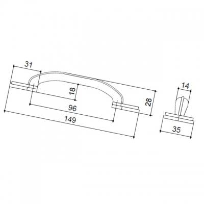 Ручка-скоба 96мм, отделка железо HN-I-3618-96-I