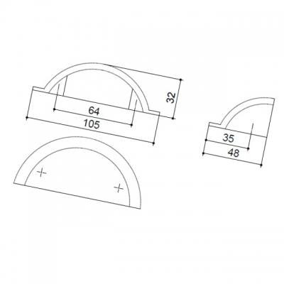 Ручка-скоба 64мм, отделка железо HN-I-3771-64-I