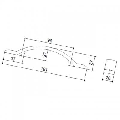 Ручка-скоба 96мм, отделка железо HN-I-3772-96-I