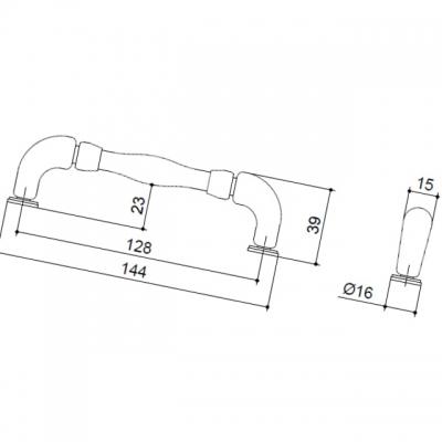 Ручка-скоба 128мм, отделка никель античный HN-M-3805-128-NP