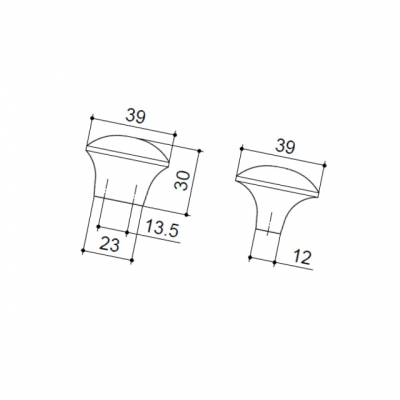 Ручка-кнопка, отделка железо KB-I-3854-38-I