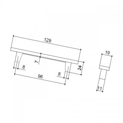 Ручка-скоба 96мм, отделка хром глянец + графит 15.138.96.VS14.07