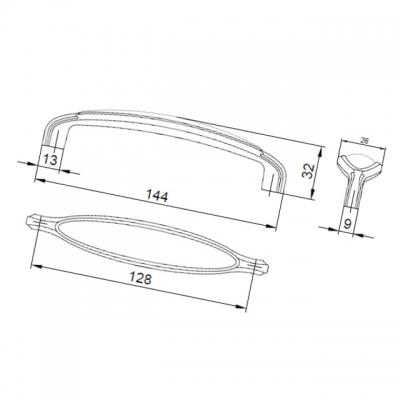 Ручка-скоба 128мм, отделка старое серебро + керамика M55X.01.C3.ME8G