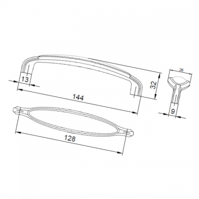 Ручка-скоба 128мм, отделка старое серебро + керамика M55X.01.C5.ME8G