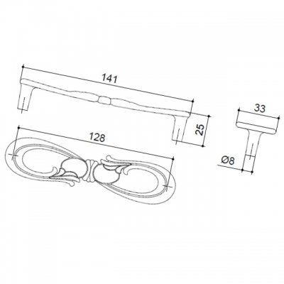 Ручка-скоба 128мм, отделка старое серебро с блеском WMN.636X.128.M00E8