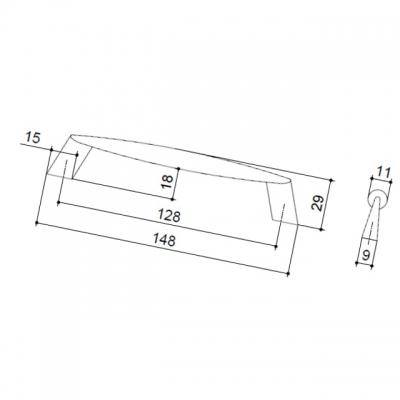 Ручка-скоба 128мм, отделка хром матовый 124.128.SC