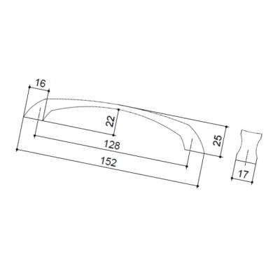 Ручка-скоба 128мм, отделка хром матовый 151.128.SC